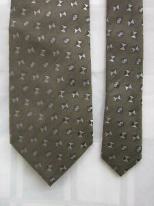 BALLY WOOL and SILK TIE Silver Signature BB Hourglass Weave Made in Italy