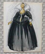 Dessin Aquarelle - Costume Théâtre Femme Renaissance - B. Duquesnoy