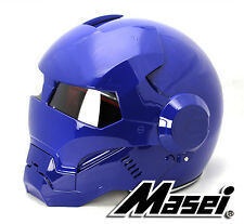 Masei 610 Atomic Man Iron Glossy Blue Flip-Up Motorcycles Helmet Chopper