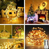 50/100/200LED USB Remote Waterproof Copper Wire String Xmas Fairy Light 8 Modes