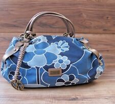 Authentic COCCINELLE Floral Blue Bag Purse Perfect Condition Leather and Canvas