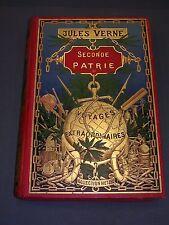 Jules Verne Voyage extraordinaire seconde patrie glode doré dos au phare