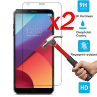 2PCS 100% Genuine Tempered Glass Clear Screen Protector Film For LG Q6 G6 New