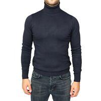 Maglia Maglione Uomo Collo Alto Blu Slim Fit Maglioncino Dolcevita Lupetto Pullo