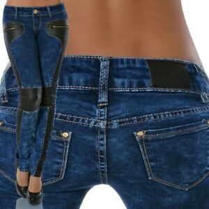 Damen Jeans Hose Skinny Slim Fit Hüftjeans Hüfthose Röhre Röhrenjeans Stretch