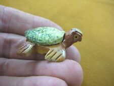 (Y-TUR-SE-150) SEA TURTLE little GREEN stone SERPENTINE carving love turtles