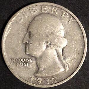 1935 D Washington Quarter 90% Silver Nice Circulated Coin Denver Mint