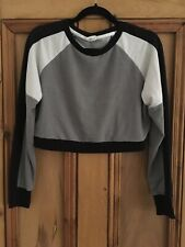 Womens H&M Grey Sport Cropped Jumper Size S