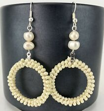 Creamy White Fresh Water Pearl Wedding Bridesmaids Drop Dangle Earrings Ivory