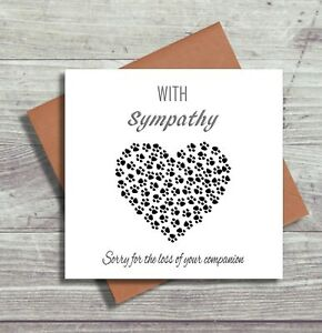 Pet Bereavement Cards Pet Loss Sorry For Your Loss Dog Cat Sympathy