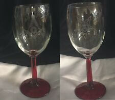 Masonic and OES Red Stem 10.25 oz.  wine glasses (1 of each) Great gift idea