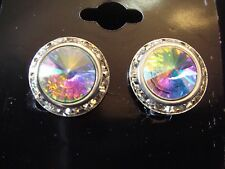 16mm Crystal AB Rondel and Rivoli Button Earrings Pierced (B-47)