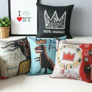 3.Wholesale Basquiat Graffiti Pillow Cover Linen Cotton Decorative Cushion Cover