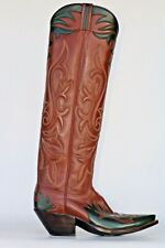 New Little's Boot Company FANCY TALL BUCKAROO MENS COWBOY BOOTS 9 .5 D NWOB
