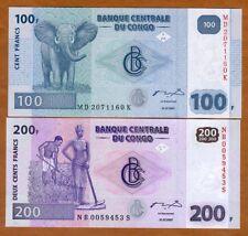 SET Congo D.R. 100;200 Francs, 2007 P-98-99, UNC