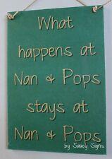 Nan and Pops Grandmother Grandad Kids Children Rustic Cute Wooden Family Sign