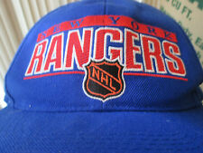 VINTAGE SPORTS SPECIALTIES NEW YORK RANGERS BLUE SEWN SNAPBACK PREOWNED VG 90s