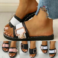 LADIES FLAT WOMENS SUMMER FASHION BEADS BUCKLE SLIDERS SLIDES SANDALS SHOES NEW