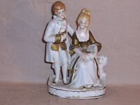 Vintage Porcelain Figurines Victorian Couple Hand Painted made in Japan