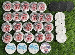 POGS 1990s POG BUNDLE x32 Waddingtons S2/Cadbury/World Tour/Weetabix & Slammers
