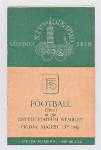 Orig.PRG  Olympic Games LONDON 1948  FOOTBALL FINAL YUGOSLAVIA - SWEDEN ! RARITY