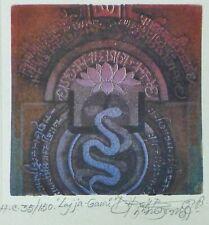 "DIPAK BANERJEE ""Lajja-Gauri"" HAND SIGNED NUMBERED 35/150 1983 LITHOGRAPH INDIA"