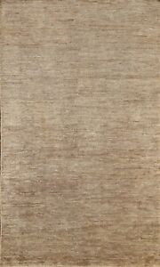 Contemporary Brown Solid Oriental Area Rug Indoor/ Outdoor Hand-knotted 5x8 ft