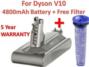 25.2V 4800mAh For Dyson V10 Battery Vacuum Cleaner Replacement Handheld+FILTER