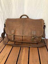 Great Large Vintage Genuine L.L. Bean Brown Leather Briefcase Messenger Bag
