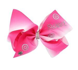 JoJo Siwa Signature Hot Pink & White Sweet Rhinestone Hair Bow NWT Summer