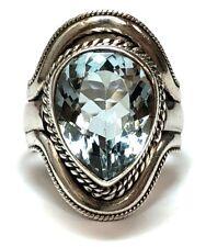 Vintage Sterling Silver & 7.00 ct Pear Shape Sky Blue Topaz Rope Border Ring