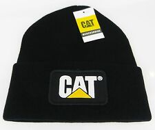 CAT CATERPILLAR *BLACK KNIT STOCKING CAP* TRADEMARK LOGO HAT * NEW* CA22