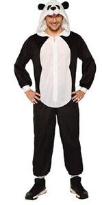 Panda Bear Hooded Jumpsuit Cozy Animal Adult Unisex Halloween Costume PLUS