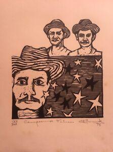 """Xylography by Juan Carlos Menéndez Ruiz, """"Campesinos Felices"""" original signed"""