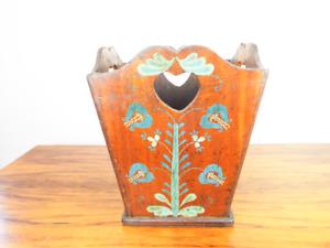 Antique Primitive Arts & Crafts Wooden Paper Basket Art Nouveau Whimsical Style