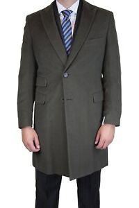 nwt BELVEST dark green soft moleskin Slim Fitting Peak Lapel Overcoat Coat 40 R