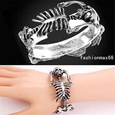 """Mens Casting Silver Tone Stainless Steel Skull Bone Skeleton Bracelet 8.26"""""""