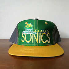 Vintage Seattle Supersonics Embroidered Color Block Snapback Hat Cap