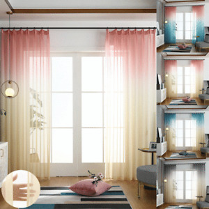 Voile Curtains Pair (2 Panels) Of Gradient Sheer Curtain Free Hooks -Top Quality