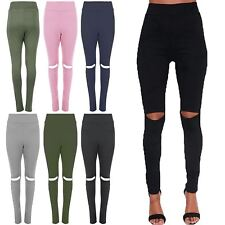 Womens Skinny Fitted Knee Cut Out Ladies Full Length Trouser Jeggings Leggings