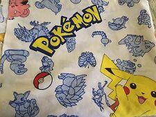 POKEMON CHARACTERS  Original TWIN SIZE FLAT SHEET Pikachu White Blue
