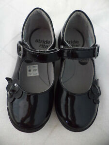 Stride Rite AVA Mary Jane Black Upper Leather Shoes Girls Size 11.5 W