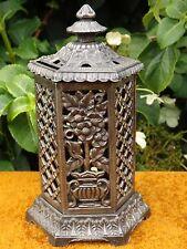 Antique Registered Cast Iron Floral Design Space Heater Savings Bank / Money Box