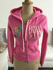 Pink hollister hooded sweat tracksuit top size xs surf & co beach boy