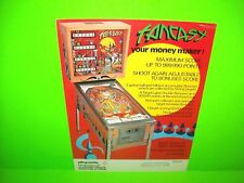 Playmatic FANTASY Original 1976 Arcade Game Pinball Machine Flyer RARE Spain