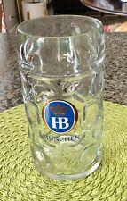 New listing Hb Hofbrauhaus Munchen 1 Liter Dimpled Glass Beer Stein Mug~Crown Logo
