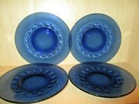 "Tiara Indiana Glass 4 Imperial Crown 10 "" Blue Glass Dinner Plates"