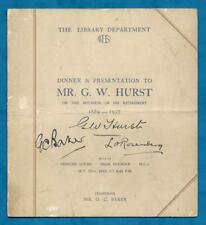 1937 SIGNED RETIREMENT DINNER MENU FOR G. W. HURST FROM W. H. SMITH LIBRARY DEPT