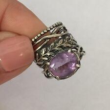 Israel PZ Artisan Solid Sterling Silver Purple Amethyst Topaz Ring, 5g, Size 5