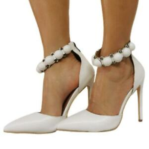 Sexy Ladies Wedding Bridal Pointy Toe Cut Out Summer Zipper Casual Sandals 47 L